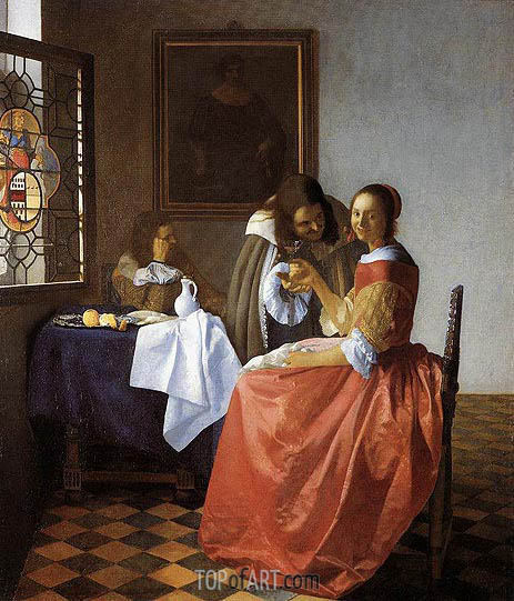 A Lady and Two Gentlemen (The Girl with the Wineglass), c.1659/60 | Vermeer | Painting Reproduction