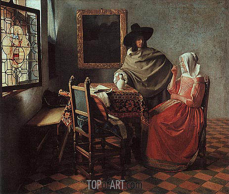 The Glass of Wine (Lady Drinking and a Gentleman), c.1658/60 | Vermeer | Gemälde Reproduktion