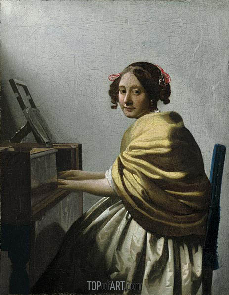 A Young Woman Seated at the Virginals, c.1670 | Vermeer | Gemälde Reproduktion