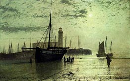 The Lighthouse At Scarborough, 1877 by Grimshaw | Painting Reproduction