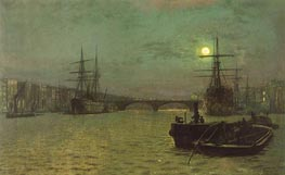 London Bridge - Half Tide, 1884 by Grimshaw | Painting Reproduction