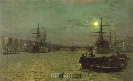 London Bridge - Half Tide, 1884 | Grimshaw | Gemälde Reproduktion
