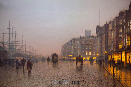 Liverpool from Wapping, 1885 | Grimshaw | Painting Reproduction