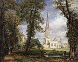 Salisbury Cathedral from the Bishop's Garden, 1826 by Constable | Painting Reproduction