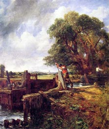 A Boat Passing a Lock, c.1823/25 by Constable   Painting Reproduction