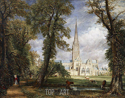 Salisbury Cathedral from the Bishop's Garden, 1826 | Constable | Painting Reproduction