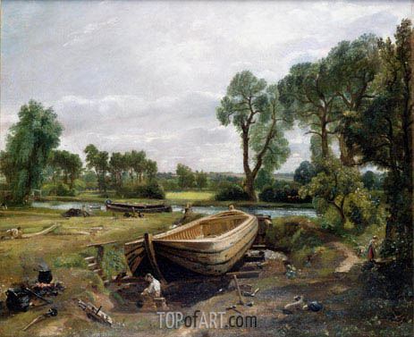 Boat Building near Flatford Mill, 1815 | Constable | Painting Reproduction
