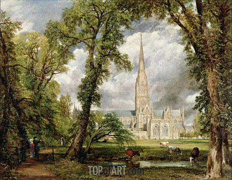 View of Salisbury Cathedral from the Bishop's Grounds, c.1822 | Constable | Painting Reproduction