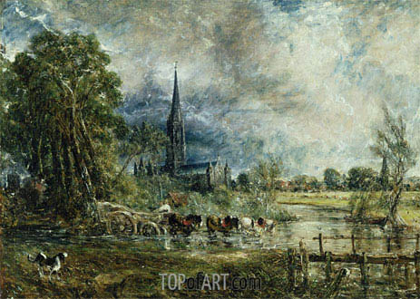 Salisbury Cathedral from the Meadows (Fording the River - Showery Weather), c.1829/31 | Constable | Painting Reproduction