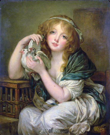 Girl with the Doves (after Greuze), undated | Constable | Painting Reproduction