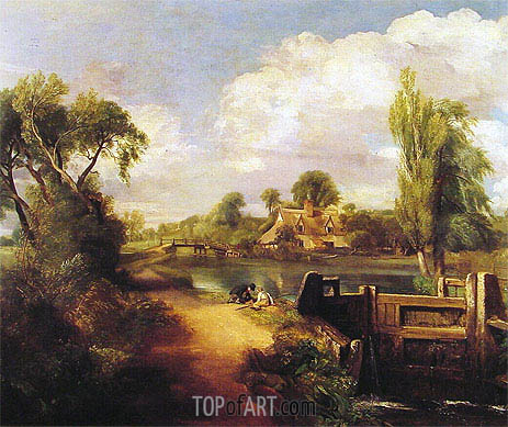 Landscape with Boys Fishing, 1813 | Constable | Painting Reproduction
