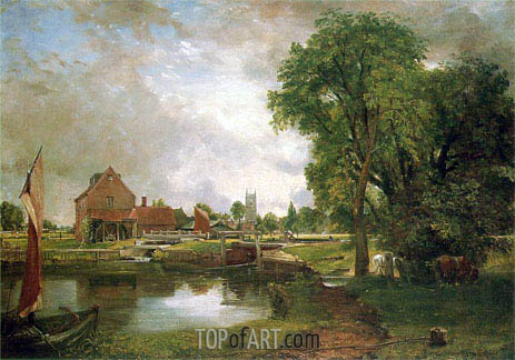 Dedham Lock and Mill, c.1820 | Constable | Gemälde Reproduktion