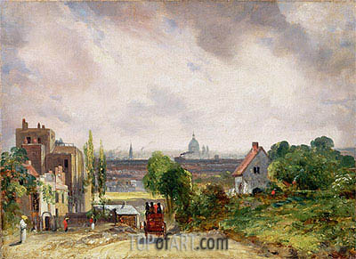 Blick auf die Stadt London von Sir Richard Steeles Cottage in Hampstead, c.1832 | Constable | Gemälde Reproduktion