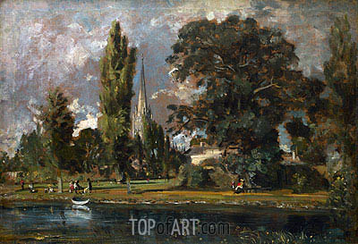 Salisbury Cathedral and Leadenhall from the River Avon, 1820 | Constable | Painting Reproduction
