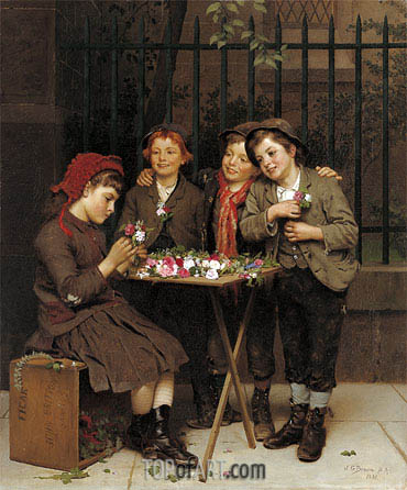 Tough Customers, 1881 | John George Brown | Painting Reproduction