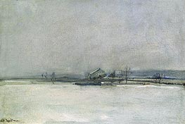 Winter Landscape with Barn, c.1885 by John Henry Twachtman | Painting Reproduction