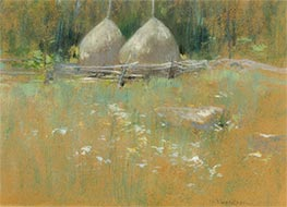 Haystacks at Edge of Woods | John Henry Twachtman | Painting Reproduction