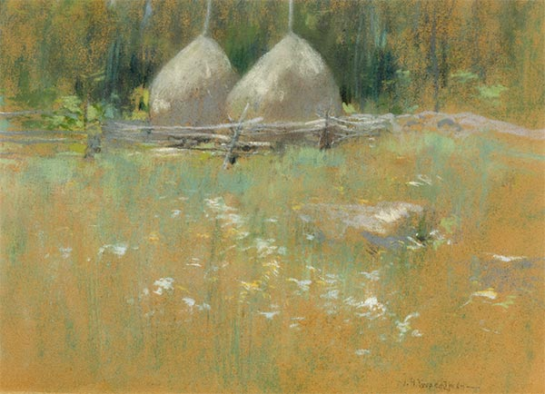 Haystacks at Edge of Woods, c.1895   John Henry Twachtman   Painting Reproduction