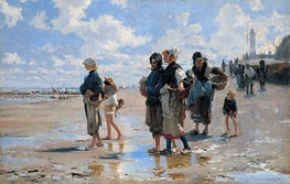 The Oyster Gatherers of Cancale, 1878 von Sargent | Gemälde-Reproduktion