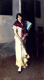 Italian Girl with Fan | Sargent | Painting Reproduction