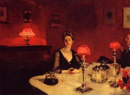 A Dinner Table at Night (The Glass of Claret), 1884 by Sargent | Painting Reproduction