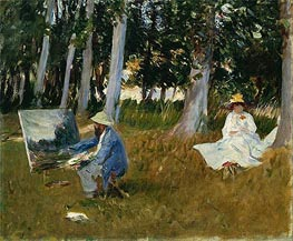 Claude Monet Painting by the Edge of a Wood, c.1885 von Sargent | Gemälde-Reproduktion