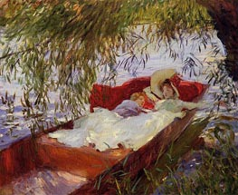 Two Women Asleep in a Punt under the Willows, 1887 by Sargent | Painting Reproduction