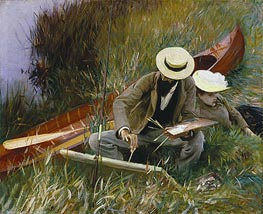 Paul Helleu Sketching with His Wife, 1889 by Sargent | Painting Reproduction