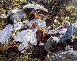 Group with Parasols (A Siesta), c.1908/11 by Sargent | Painting Reproduction