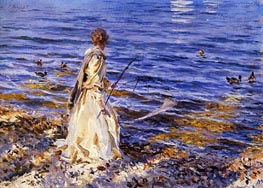 Girl Fishing, 1913 by Sargent | Painting Reproduction