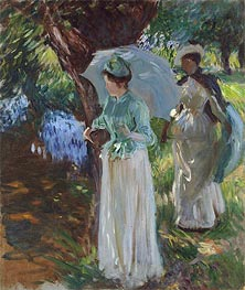 Two Girls with Parasols, 1888 by Sargent | Painting Reproduction