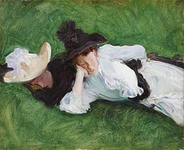 Two Girls on a Lawn, c.1889 by Sargent | Painting Reproduction