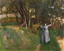 Landscape with Women in Foreground | Sargent | Painting Reproduction