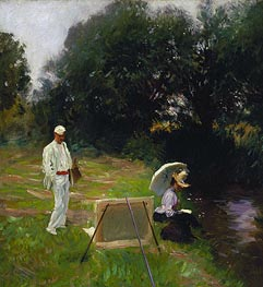 Dennis Miller Bunker Painting at Calcot, 1888 by Sargent | Painting Reproduction