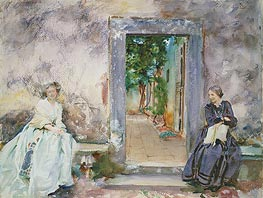 The Garden Wall, 1910 von Sargent | Gemälde-Reproduktion