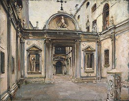 Courtyard of the Scuola Grande di San Giovanni Evangelista, Venice, 1913 by Sargent | Painting Reproduction
