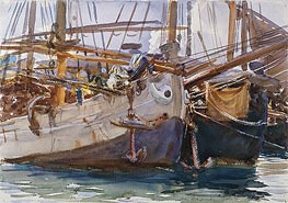 Boats, Venice, c.1908 by Sargent | Painting Reproduction
