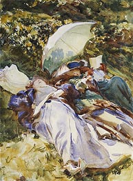 The Green Parasol, c.1910 von Sargent | Gemälde-Reproduktion