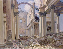 Ruined Cathedral, Arras, 1918 by Sargent | Painting Reproduction