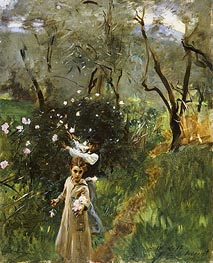 Gathering Flowers at Twilight | Sargent | Painting Reproduction