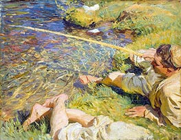 Val d'Aosta: A Man Fishing | Sargent | Painting Reproduction