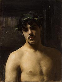 Man Wearing Laurels, c.1874/80 by Sargent | Painting Reproduction