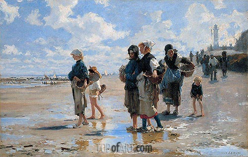 The Oyster Gatherers of Cancale, 1878 | Sargent | Painting Reproduction