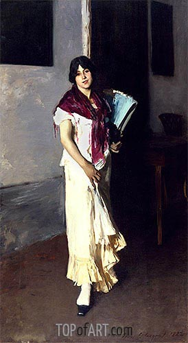 Italian Girl with Fan, 1882 | Sargent | Gemälde Reproduktion