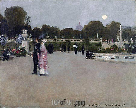 Luxembourg Gardens at Twilight, 1879 | Sargent | Painting Reproduction