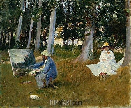 Claude Monet Painting by the Edge of a Wood, c.1885 | Sargent | Gemälde Reproduktion