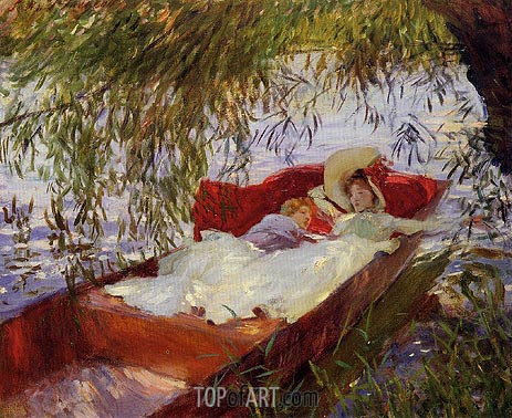 Two Women Asleep in a Punt under the Willows, 1887 | Sargent | Painting Reproduction