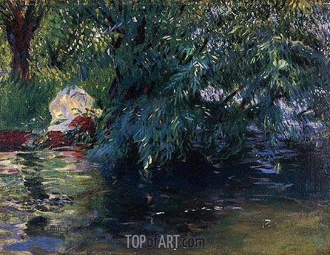 A Backwater, Calcot Mill near Reading, 1888 | Sargent | Gemälde Reproduktion