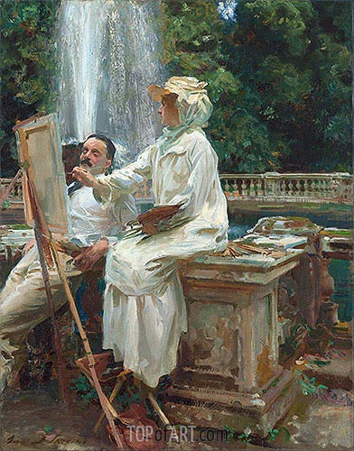 The Fountain, Villa Torlonia, Frascati, Italy, 1907 | Sargent | Painting Reproduction