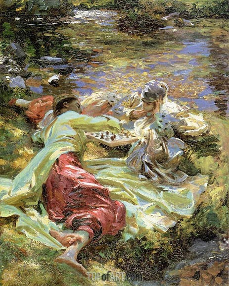 The Chess Game, c.1907 | Sargent | Gemälde Reproduktion